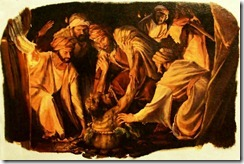Ebed-melech rescues Jeremiah from miry cistern